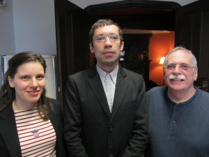 Guillaume Boutard, PhD'13, (centre) with supervisors Professor Catherine Guastavino and Professor James Turner, Université de Montréal. The re-performance of digital archives of contemporary music live electronics: A theoretical and practical preservation framework