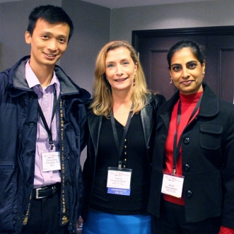 Professor Dr. France Bouthillier (centre) with Dr. Ching Seng Yap, Assistant Professor, University Tun Abdul Razak, Malaysia (left), and Dr. Nisha Sewdass, Senior Lecturer, University of Pretoria, South Africa (right). Photo: Nathalie de Preux