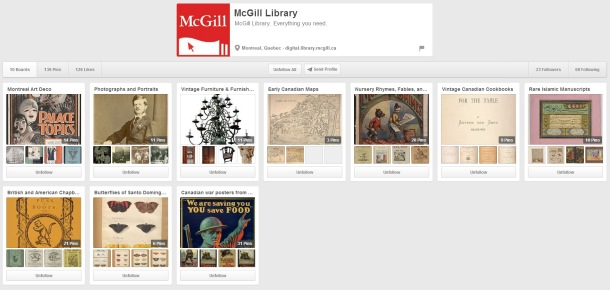 McGill Library's Pinterest page