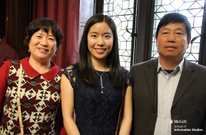 Xuan Zhou (MLIS'14) and family at the McGill School of Information Studies 2014 Convocation celebration. Photo: McGill SIS www.mcgill.ca/sis