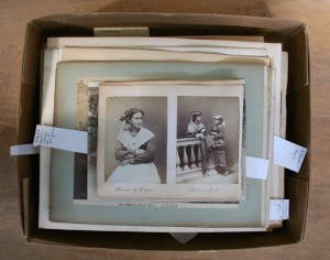 """Opening Box 11"" from a collection of 19th-century photographs. Rare Books and Special Collections, McGill University Library and Archives. Photo credit: Pamela Casey"