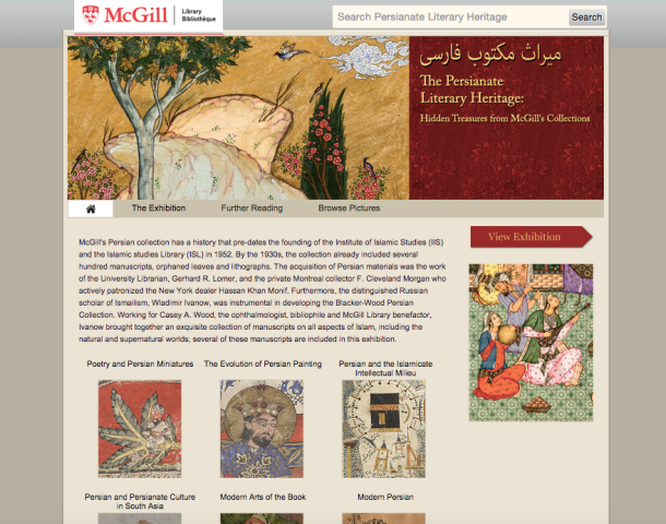 Screen capture, Persianate Literary Heritage digital exhibition. Image provided by Daniel Míguez de Luca