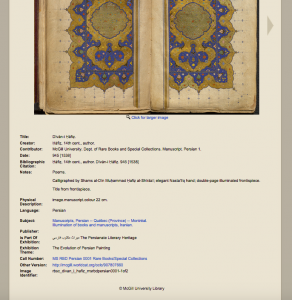 The Persianate Literary Heritage digital exhibit, item metadata listing. Image provided by Daniel Míguez de Luca