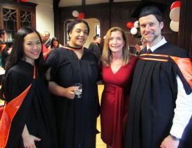 Graduates Yi-Jen Tu, MLIS'15; Kimberly Ryan, MLIS'15; Prof. France Bouthillier; Ted Minett, MLIS'15. Photo: McGill SIS www.mcgill.ca/sis