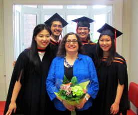 Graduates Yuning Hu, MLIS'15; Guillermo Galdamez, MLIS'15; Robyn Biggar, MLIS'15; Leann Ban, MLIS'15 with Prof. Kimiz Dalkir. Photo: McGill SIS www.mcgill.ca/sis