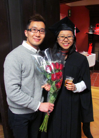 Graduate Yufeng Guan, MLIS'15 (right), with friend. Photo: McGill SIS www.mcgill.ca/sis